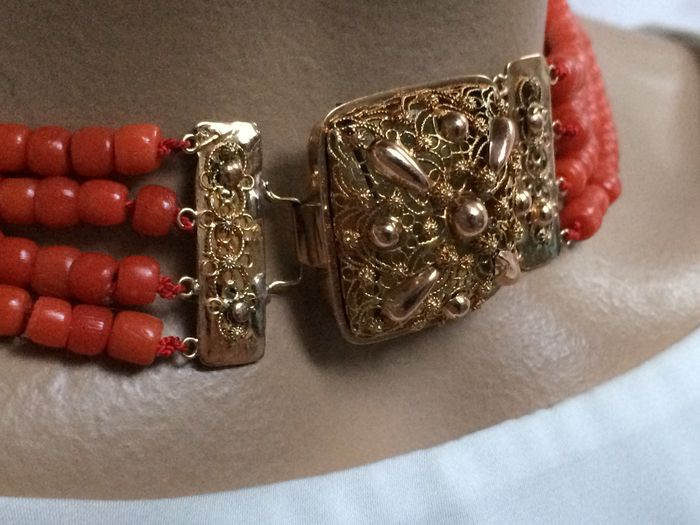 Antique 100% Genuine Mediterranean Sea Red Coral Necklace, Square Beautiful Antique Gold Clasp