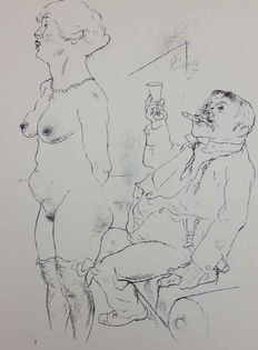 George Grosz (1893 - 1959) - Standing woman with man toasting