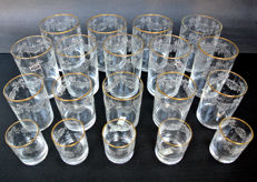 Nason & Moretti - 20 antique crystal glasses - Murano Venice - 4 different sizes