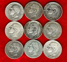 Spain – 9 silver coins, 50 cents of Alfonso XIII. Year 1880 (5), 1881 and 1885 (3) stars 85 and 86. (9)