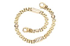 Bicolour gold link bracelet in 14 kt