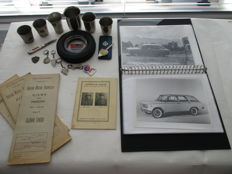 Lot of 17 Automobilia - Car Rally prices, ashtray, road maps Indonesia, Fiat press pictures, etc.