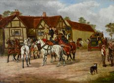 Unknown. (Early 20th century) - Changing horses at Elmdon.