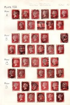 Great Britain Queen Victoria 1864/1879 - 1d Red Stanley Gibbons 43 Plate 129 - Part Sheet Reconstruction