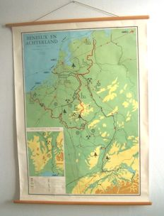 Three old school maps of the Benelux, Zuiderzee and catchment area of the river the Schelde, Maas and Rhine