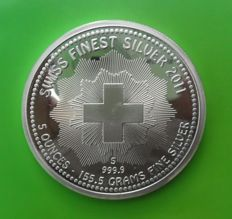 Switzerland - 5 ounce silver  large 5 oz 999 silver coin - 2011