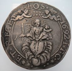 Republic of Genoa, 1692 – Double Scudo coin – Silver.