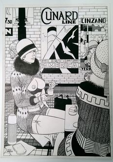 Matena, Dick - Original art for portfolio - De meisjes van het station - (1992)