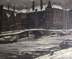 Jos van Dijk (1913-2000) - Amsterdam in de winter