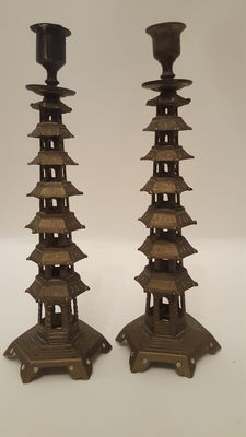 Vintage pair Chinese Pagoda style Brass Candlesticks