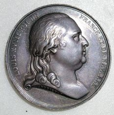 France - Medal 'Louis XVIII / Arrival in Paris' 1814 by Andrieu & Brenet - Silver