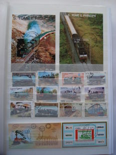 Thematic - Trains and Automobiles of the world - A Collectio +- 2100 stamps and 80 sheets