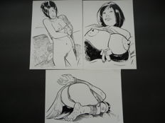 Pin-up art; Lot with 3 drawings by Nicolas - 21st century