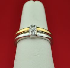 Diamond 0.06 ct & Bi-Color 18K Gold Ring - 49 (EU) (Resizable)