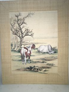 A painting of two horses on silk - China - ±1900