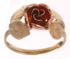 Bi-colour gold ring, rose model