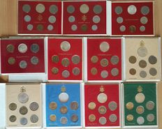Vatican City – divisional series from '79 to '89 (John Paul II) and '63 / '64 / '75 H.Y. (Paul VI) – silver coins included