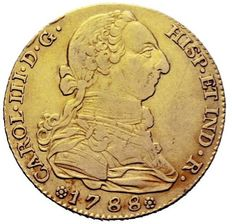 Spain - Carlos III (1759 - 1788), gold doubloon of 4 escudos. Madrid, 1788.