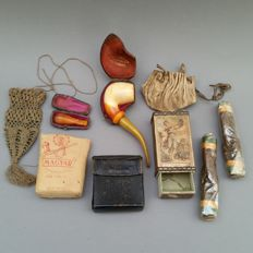 Various 19th and early 20th century tobacco related items including meerschaum pipe and rare match box