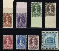 Belgium 1931/1936 – Selection of 2 issues, being Elisabeth as nurse and City Hall Charleroi – OPB 326/332 + 437