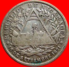 Republic of Nicaragua – 20 cents silver coin - Heaton - 1887
