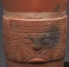 Pre-Columbian Tiahuanaco beaker or kero with a fanged deity and snakes - 11 cm