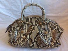 Gucci - Python met Bamboe Handvatten Tan/Brown Tote Bag