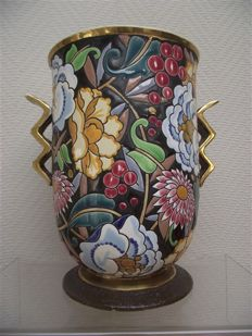 "Raymond Chevalier for Boch - Art Deco vase "" Mikado "" with enamelled decor"
