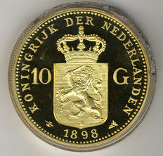 The Netherlands - 10 Guilder 'Re-strike of the gold tenner Wilhelmina 1898' in large size