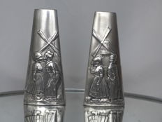 Two WMF pewter vases