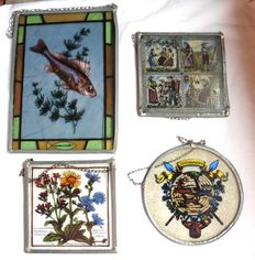 4 painted stained glass for hanging