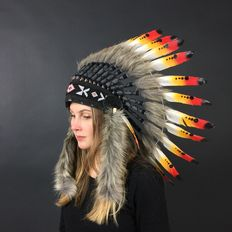 Indian headddress of real feathers and natural materials - 21st century