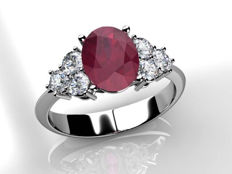 White gold cocktail ring with 0.80 ct ruby and 0.25 ct in diamonds (G VVS)
