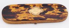 Tortoise shell glasses case with gold application - ca. 1900
