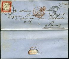 Kingdom of Italy - Victor Emmanuel II c. Isolated carmine red 40 to France with entry stamp in France - Sassone n.  3