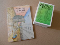 "Postcards portfolio ""Venezia celeste"" + Moebius Trading Cards complete set of 90 cards"