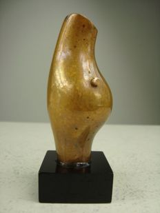 Abstract bronze sculpture signed on the base KM