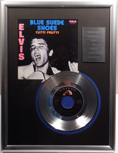 """Elvis Presley - Blue Suede Shoes -  7"""" Single RCA Records platinum plated record Special Edition"""