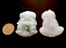 Lot of 2 large jade carvings of mythological characters – jadeite from Burma (Myanmar), late 20th Century
