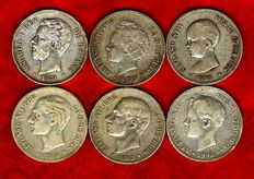 Spain - Set of 6 silver coins of 5 pesetas each - Amadeo I (1871*73); Alfonso XII (1879 and 1885*86) and Alfonso XIII (1890, 1894 and 1896). (6).