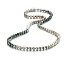 Long Tahitian Pearlnecklace 9 - 10 mm in a beautiful array of colours