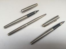 Set of 3 parker sterling silver pens, fountain pen, ballpoint and fineliner
