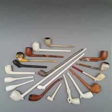 19 stemmed clay pipes made by Gambier, Scouflaire and other companies