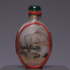 Beautiful glass snuff bottle painted on the inside, with a landscape décor – China – first half 20th century