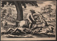 "Matthäus Merian the Elder (1593–1650) - Stag Hunt - from the series of socalled ""Mittelgrossen Jagden"" after Antonio Tempesta (1556–1630) - Published 1617"