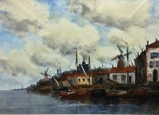 Hermanus Koekkoek II (1836-1909) - A Dutch Harbour
