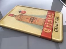 Metal advertising sign ' Cristal Genièvre ' from 1948, antique tin sign