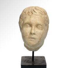 Roman Marble Head of a Youth, 7.3 cm H