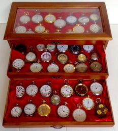 Timepieces - fine collection of 47 various pocket watches in a luxury case