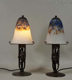 Daum - A pair of Art Deco lamps - wrought iron and coloured glass